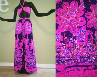 Slit Ruffle Front Maxi Skirt Vintage 1960s Hawaiian Pink Purple Batik Tiki Print Swimsuit Cover Up MOD 60s Retro Beach Wedding Dress Medium