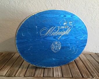 Vintage Blue Satin Tussy Midnight Perfume Box