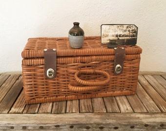 Vintage Sewing Basket Plastic Coated