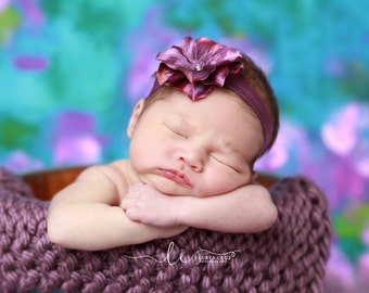 Large purple hydrangea flower headband for newborn photo shoots, baby headband, soft stretch elastic, made by Lil Miss Sweet Pea