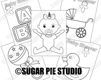 Baby Shower Coloring Pages Girl Party Favor Kids Table JPEG And PDF Available Instant Download