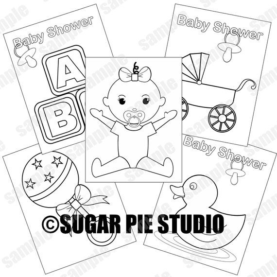 baby clotheline coloring pages | Baby shower coloring pages baby girl party favor kids table