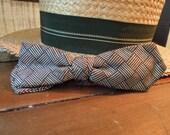 "Vintage Men""s Brown Basket Weave Checkered Slim 1950's Bow Tie / Professor's Bow Tie / Clip on Bow Tie / Beau Clip"