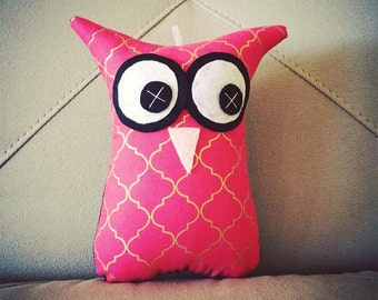 Owl Softies   Pink & Gold Moroccan Tile   18cm Owls   Baby   Girls   Gifts