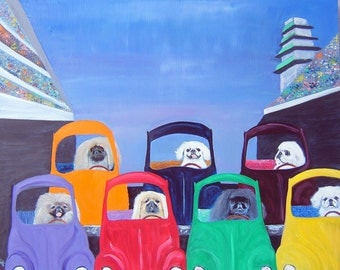 "Pekingese Art PRINT of an original oil painting, Dog Art, Indy 500, ""Pekingesesusses Start Your Engines"",8x10"