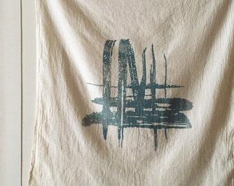 Brushstrokes Natural Towel. Screen Printed Tea Towel. Rustic Kitchen Towel. Natural Kitchen Towel. Flour Sack Towel. Small Tablecloth.