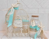 Beach Wedding Card Box / Birdcage Card Holder / Summer Wedding Decor / Message in a Bottle / Card Holder and Wishes Set / Starfish / Burlap