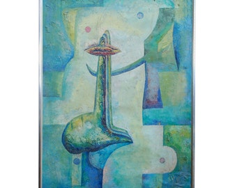 Latin American Abstract Surrealist Original Painting Signed DREJEL 73