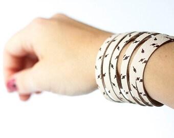 Leather Bracelet / Original Sliced Cuff / High Voltage