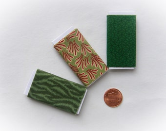 Dollhouse Miniature Set of Three Bolts of Fabric - Dark Green Assortment, One inch scale, 1:12 Scale