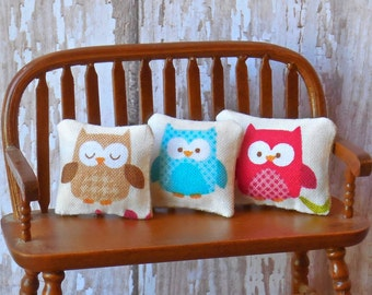 "Dollhouse Miniature Decorator Pillow Set of Three ""Hootie & Friends"" - 1:12 scale"