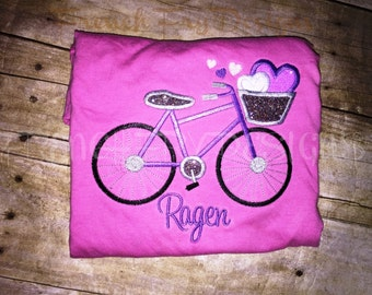 Bicycle with Basket of Hearts Personalized with Name Applique TShirt