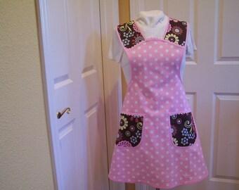 Womens Pink Polka Dot Apron, No Pull Neck Apron, Retro Style Hostess Apron