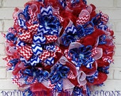 Patriotic Diamond Braided Rope Mesh Wreath