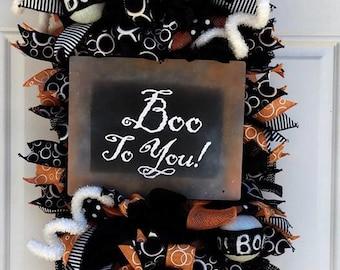 Halloween Mesh Wreath, Halloween Wreath, Halloween Boo ToYou Door/Wall Swag Weath