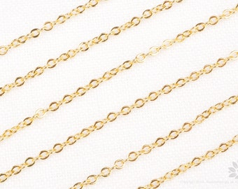 C100-G// Glossy Gold Plated Small Cable Chain, 3M