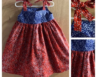 Red and Blue Flowered  Boho Style Sundress, size 3t