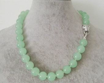 jade necklace -12mm light green jade necklace , free shipping