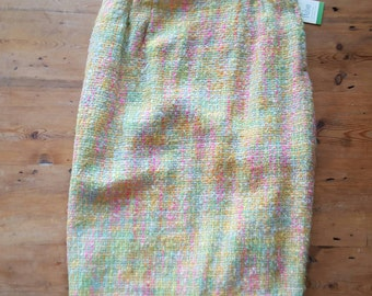 Vintage NOS Dalton Mohair/Wool Pastel Weave Pencil Skirt, Size 10