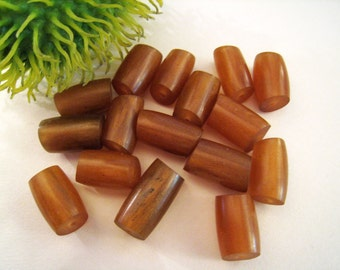Rust Amber Colored Lucite Small Tube Beads -  Ends Cut On An Angle - Sets Of 16