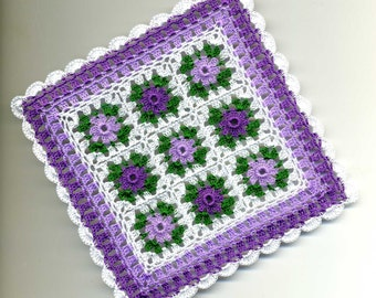 Dollhouse Miniature Afghan Bedspread Cover Throw Violet, Lavender, Green and White