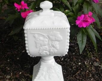 ON SALE Milk Glass Pedestal Covered Dish