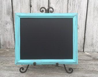Aqua Shabby Chic Framed Chalkboard, 8 x 10 Chalkboard, Upcycled Framed Chalkboard, Wedding Chalkboard, Menu Chalkboard