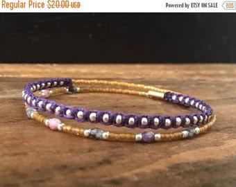 15%OFF VALENTINE SALE Macrame beaded memory wire wrap bracelet with gift envelope Purple
