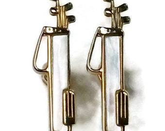 Swank Golf Bag Clubs Cufflinks Mother of Pearl Set Gold Tone Cufflinks