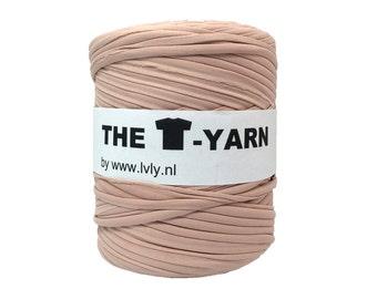 The t-shirt yarn 120-135 yards, 100% recycled cotton tricot yarn, powder 206