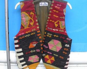 Vintage Wool & LEATHER Kelim Kilim Red Yellow Black PINK Vest Women Medium Small