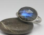 Labradorite & Sterling Ring, Rose Cut Labradorite, Blue Flash, Unisex, Statement Ring, Size 7.25