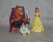 Vintage Disney Beauty & The Beast PVC Figures - Beast in Purple Cape with Mirror, Belle in Yellow Dress, Mrs Potts and Chip