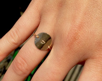 Circle disk Hebrew letter initial ring. 14k gold filled - custom size, monogram