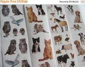 ON SALE Lot of Mrs Grossman Animal Sticker Strips - Cat Kitten Puppy Dog Goat Horse Owl Pig Cow Bunny Rabbit Chicken Scrapbook Teacher