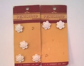 Vintage White Flower Buttons - Six Buttons - Penimaid - Six  3/4 Inch Shank Style Plastic Buttons - Original Cards