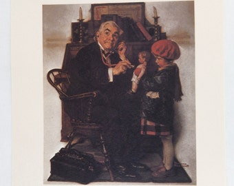 Vintage 1970's Norman Rockwell Doctor and Doll Saturday Evening Post Print