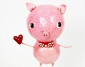 Valentine Pig Figurine, Pig Holding a Heart, Bowtie Piggy, Adorable Pig Art, Pig Lover Gift, Valentine Decor