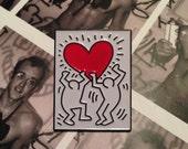 keith haring heart pin