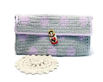 ON SALE - Polka Dot Clutch - Crochet Clutch - Clutch - Crochet Bag - Handbag - Clutch Purse - Envelope Clutch - Vegan Handbag