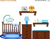 30% OFF SALE Baby boy Nursery Crib Changing table digital clip art set, clipart personal and commercial use digital download