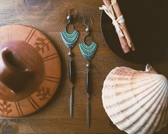 Tribal Patina & Black Earrings