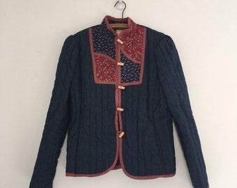 Vintage 70's Gunne Sax Quilted Jacket / Cropped Patchwork Denim M