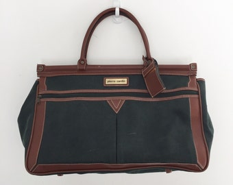 Vintage 80's Hunter Green Weekender Bag / Pierre Cardin Large Luggage Duffel