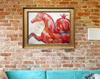 Original HORSE ARTWORK oil on canvas red painting wall art home deco