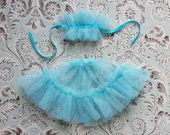 "Aqua Tulle Petticoat and Collar Set for 12"" Blythe"
