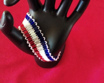 Patriotic, Red, white, blue tila cuff bracelet