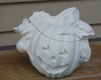 Ceramic Bisque Pumpkin with Mice