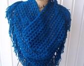 Ready To Ship Crochet Peacock Blue Triangle Fringe BoHo Scarf/Wrap w/Button
