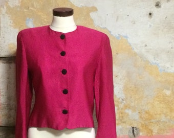 1980s Jaeger Bright Pink Cropped Evening Jacket UK 10, US 6, EU 38